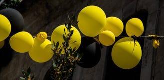 Balões da cor no ar entre árvores Fotografia de Stock