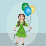 Balões da menina Imagem de Stock Royalty Free