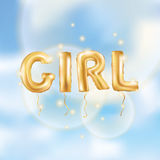 Balões da menina do ouro Fotografia de Stock