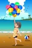 Balões da terra arrendada da menina Imagens de Stock Royalty Free