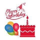 balões da vela do bolo do feliz aniversario coloridos Imagem de Stock Royalty Free