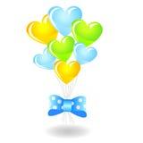 Balões dados forma coração com fita azul Foto de Stock Royalty Free
