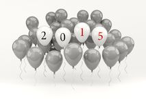 Balões de ar brancos com sinal do ano 2015 novo Fotografia de Stock