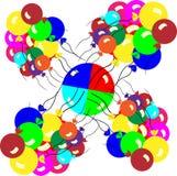 Balões de ar coloridos Rebanho fora Ilustração Royalty Free
