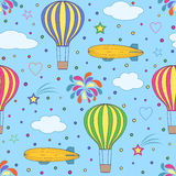 Balões de ar e dirigíveis no céu azul Imagem de Stock Royalty Free