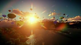 Balões de ar que voam acima do lago cercado por montanhas, por do sol bonito, inclinação ilustração do vetor