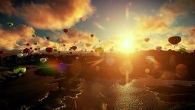 Balões de ar que voam sob o por do sol bonito, tiro de viagem ilustração do vetor