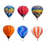 Balões de ar quente coloridos isolados no fundo branco Imagens de Stock Royalty Free