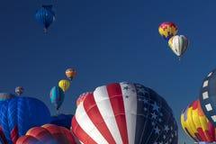 Balões de ar quente coloridos na festa do balão de Albuquerque, Alb Fotos de Stock