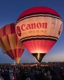 Balões de ar quente coloridos no evento do fulgor da manhã no Albuquerq Fotos de Stock