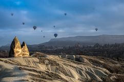 Balões de ar quente em Cappadocia, Turquia Foto de Stock