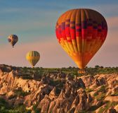 Balões de ar quente no ar Foto de Stock