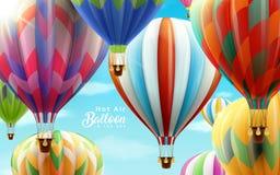 Balões de ar quente no céu ilustração royalty free