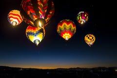 Balões de ar quente no céu, Reno, Nevada fotografia de stock