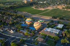 Balões de ar quente que flutuam acima dos vinhedos Imagens de Stock