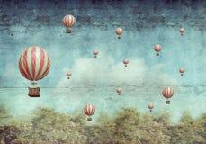 Balões de ar quente que voam sobre uma floresta ilustração do vetor
