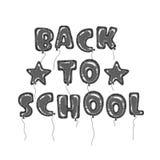 Balões de volta ao preto da escola Ilustração Stock