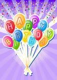 Balões do aniversário. Cartão birthsday feliz ilustração do vetor