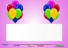 Balões do aniversário com sinal vazio Foto de Stock