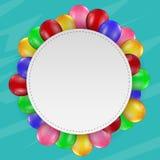 Balões do aniversário com sinal vazio Fotografia de Stock