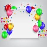 Balões do aniversário com sinal vazio Fotografia de Stock Royalty Free