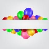 Balões do aniversário com sinal vazio Imagens de Stock Royalty Free