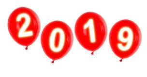 Balões do ano 2019 fotografia de stock royalty free