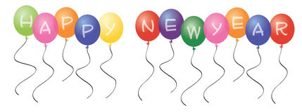 Balões do ano novo feliz Fotografia de Stock Royalty Free