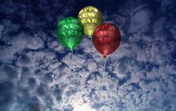 Balões do ano novo no alvorecer Fotografia de Stock