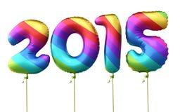 Balões 2015 do arco-íris do ano novo Imagens de Stock Royalty Free