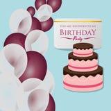 balões do bolo do convite do cartão do feliz aniversario Fotos de Stock Royalty Free