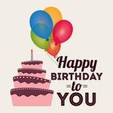 balões do bolo do cumprimento do convite do cartão do feliz aniversario Imagem de Stock