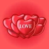 Balões do coração com amor da palavra Molde bonito para seu projeto Foto de Stock