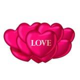 Balões do coração com amor da palavra Molde bonito para seu projeto Fotos de Stock Royalty Free