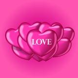 Balões do coração com amor da palavra Molde bonito para seu projeto Imagens de Stock Royalty Free