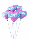 Balões 2015 do coração do ano novo Imagem de Stock