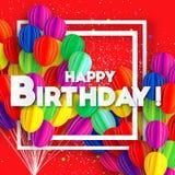 Balões do corte do papel do voo Cartão colorido do feliz aniversario Quadro de Squae para o texto Fotos de Stock Royalty Free