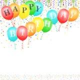 Balões do feliz aniversario ilustração stock