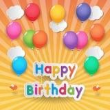 Balões do feliz aniversario ilustração do vetor
