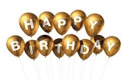 Balões do feliz aniversario do ouro Imagens de Stock