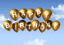 Balões do feliz aniversario do ouro no céu ilustração stock