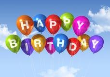 Balões do feliz aniversario no céu Imagem de Stock Royalty Free