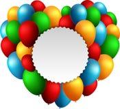 Balões do feliz aniversario que voam para o partido e as celebrações com texto no círculo isolado no fundo branco ilustração do vetor