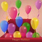 Balões do feriado da caixa vermelha Fotos de Stock