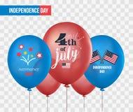 Balões do feriado no fundo transparente ô julho Celebração nacional Fundo do grunge da independência Day Grupo do vetor de Fotos de Stock Royalty Free