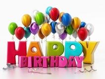 Balões do texto e do partido do feliz aniversario ilustração 3D Imagens de Stock