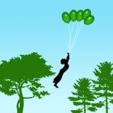 Balões do vôo do menino Imagens de Stock