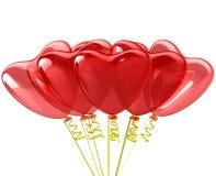 Balões do vermelho do coração. Decoração romântica Wedding. ilustração do vetor