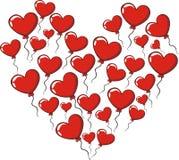 Balões dos corações do amor Fotos de Stock