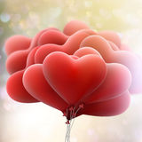 Balões dos corações no fundo do bokeh Eps 10 Imagem de Stock